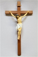 Cherry Wood Crucifix Wall Cross Jesus Hand Painted Corpus Italian Statue Sculpture Catholic Religious Gift Vittoria Collection Made in Italy